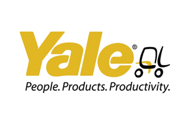"Yale, a heavy machinery manufacturer, displays its branded image of their name, ""Yale"", in large yellow lettering."