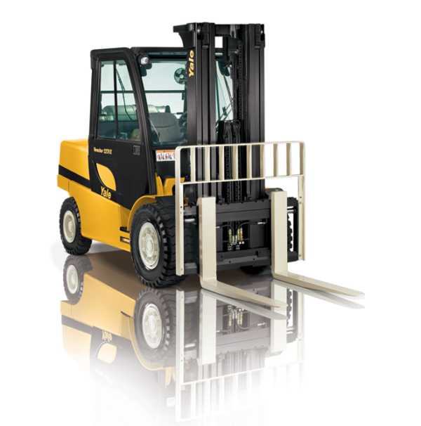 A yellow and black Yale forklift stationed in front of a white backdrop.