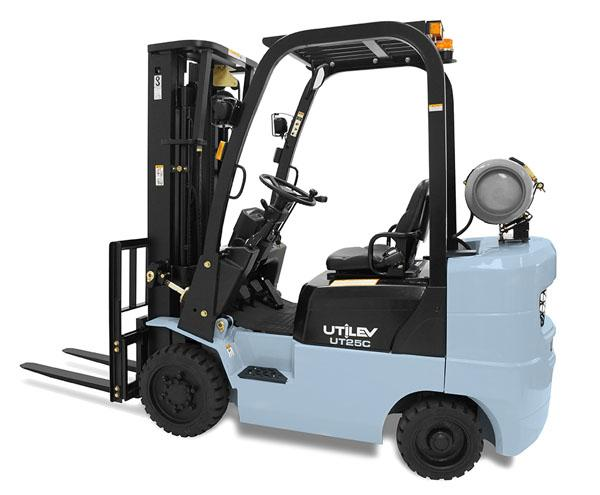 A blue and grey Utilev forklift is stationed in front of a white backdrop.
