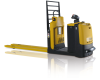 An black and yellow electric Yale pallet jack that is stationed in front of a white backdrop.
