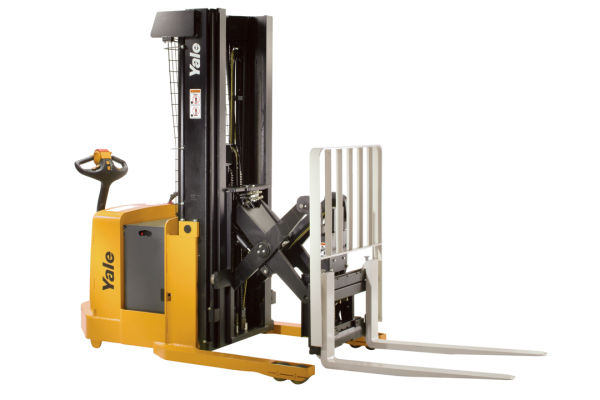 A black and yellow Yale forklift that is stationed in front of a white backdrop.