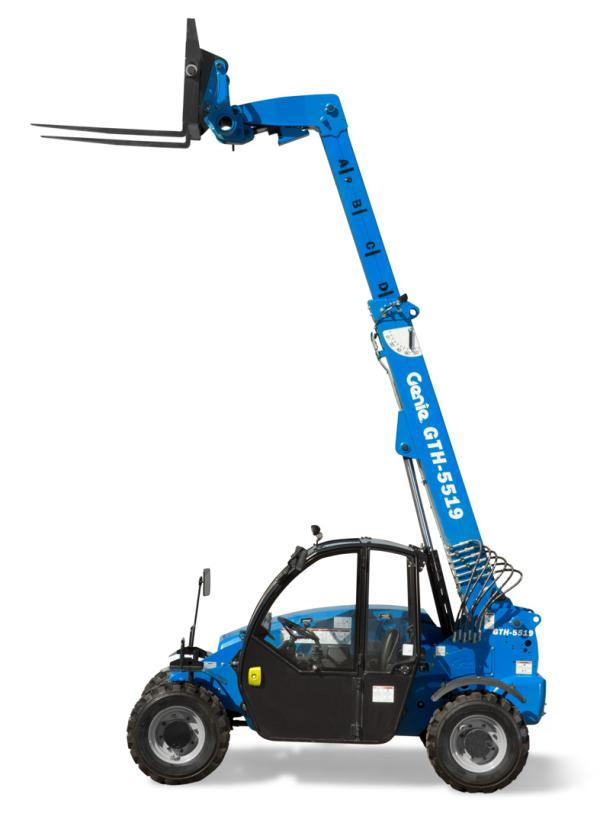 A blue crane forklift that is stationed in front of a white backdrop.