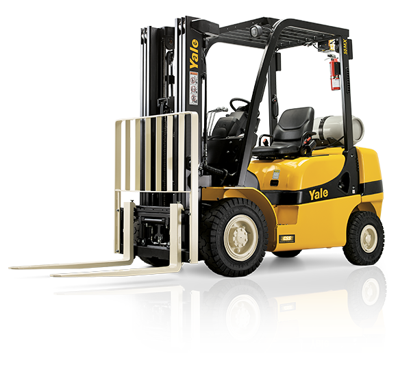 A black and yellow Yale forklift that is parked in front a white backdrop.