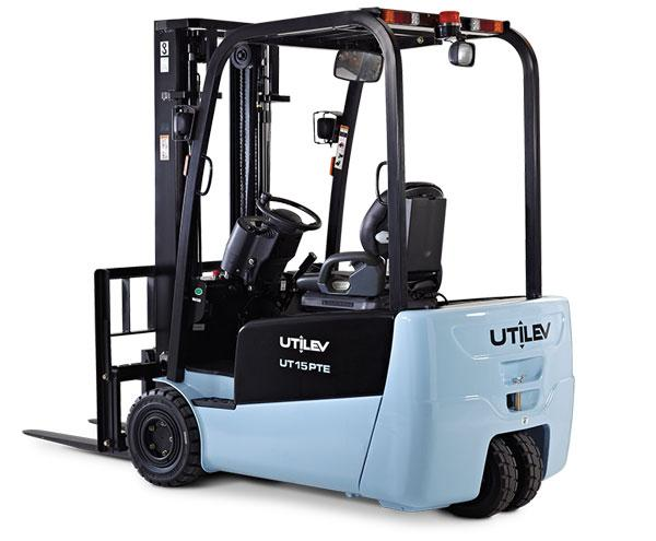 A blue and black Utilev forklift is stationed in front of a white backdrop.