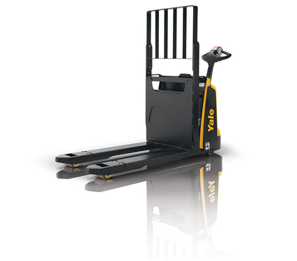 A black and yellow Yale forklift that is stationed in front of a white background.
