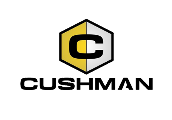 Cushman Construction Equipment displays its branded image with their name in small black font under a hive symbol.
