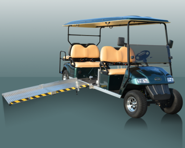 A 4-passenger Star electric vehicle with an ADA accessible ramp that is connected to the vehicle.