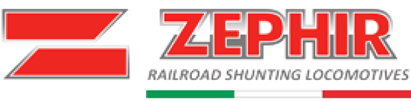 "Zephir, the European leader in railroad shunting, displays its branded image of their name ""Zephir"" in red large lettering."