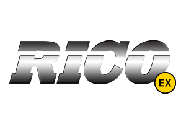 "Rico, the heavy equipment manufacturer, showcases its brand image with large font spelling ""Rico"" in silver."