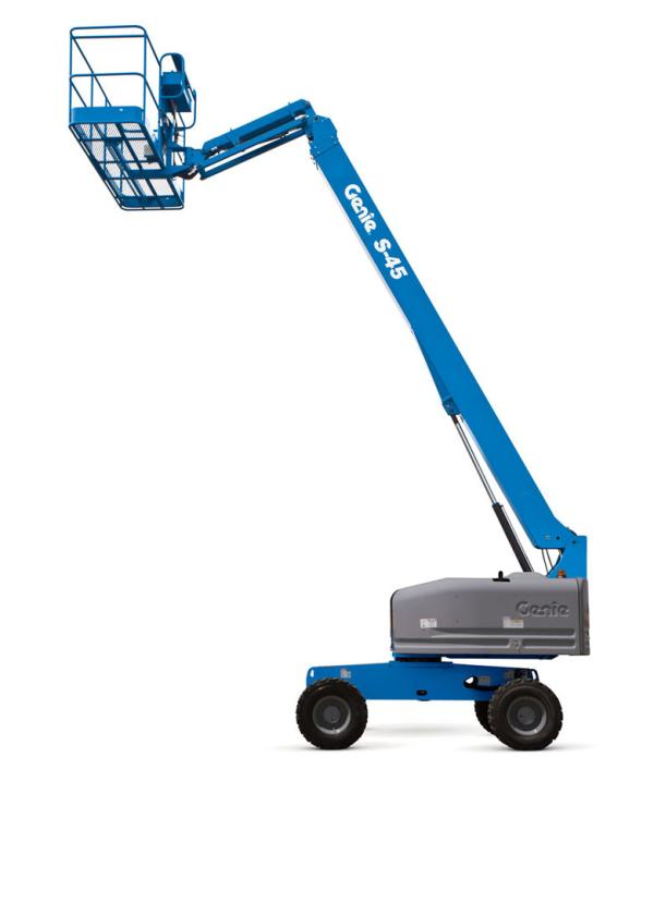 A fully extended blue crane lift that is stationed in front of a white backdrop.